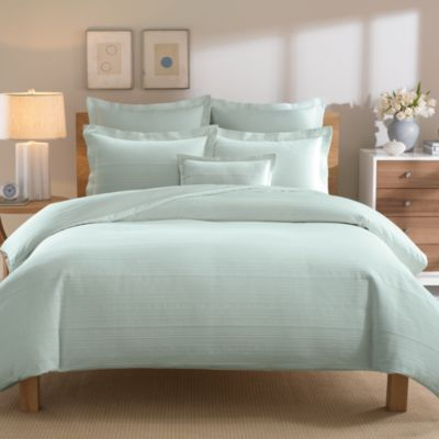 Real Simple® Linear Full/Queen Duvet Cover in Aqua