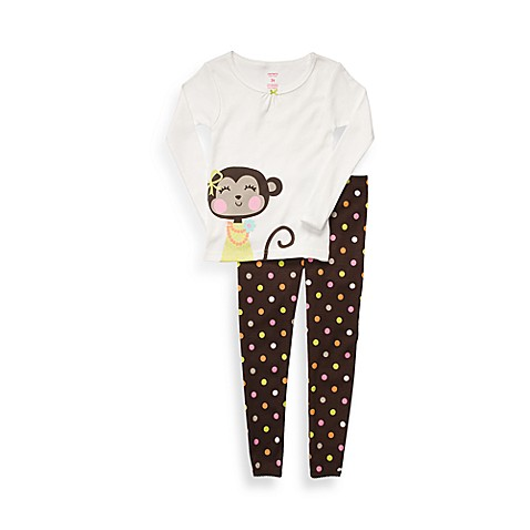 Carter's® Brown Monkey Snug Fit Size 18 Months Cotton 2-Piece PJs