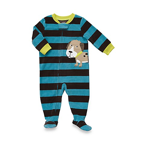 Carter's® Blue Stripe 1-Piece Micro-Fleece PJ - 18 Months
