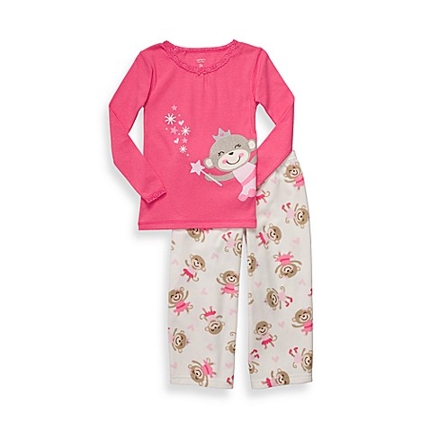 Carter's® Pink Monkey Print 2-Piece Micro-Fleece PJs - 12 Months