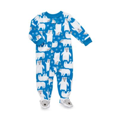 Carter's® Blue Polar Bear 1-Piece Micro-Fleece PJ