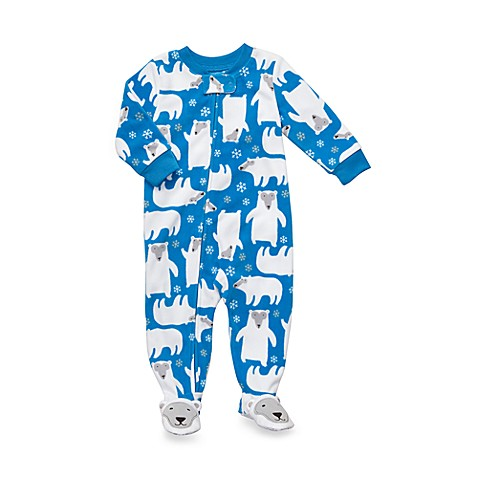 Carter's® Blue Polar Bear 1-Piece Micro-Fleece PJ - 12 Months