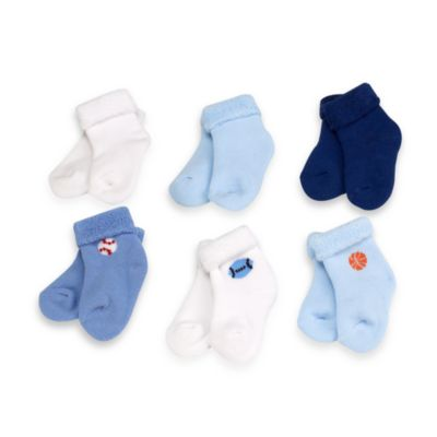 Gerber® Blue 6-9 Months Baby Terry Socks (Set of 6)