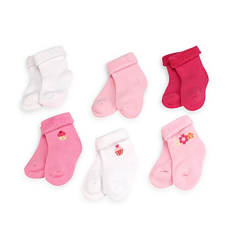Gerber® 6-Pack Assorted Size 6 to 9 Months Baby Terry Socks in Pink