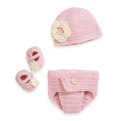 So 'dorable 3-Piece Crochet Set in Pink