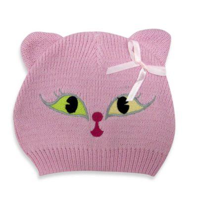 Cotton Knit Kitty Hat in Pink
