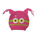 Cotton Knit Owl Hat in Pink