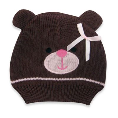 Cotton Knit Bear Hat in Brown