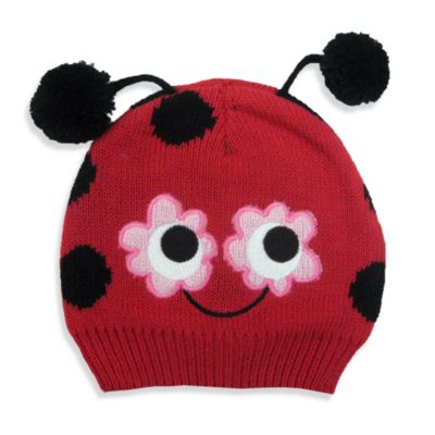 Cotton Knit Ladybug Hat in Red