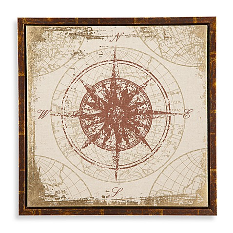 Print on Linen Antique Compass with Gold Foiling