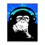 Monkey Headphones Blue/Green Wall Art