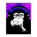 Monkey Headphones Blue/Purple Wall Art