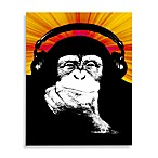 Monkey Headphones Red/Orange/Yellow Wall Art