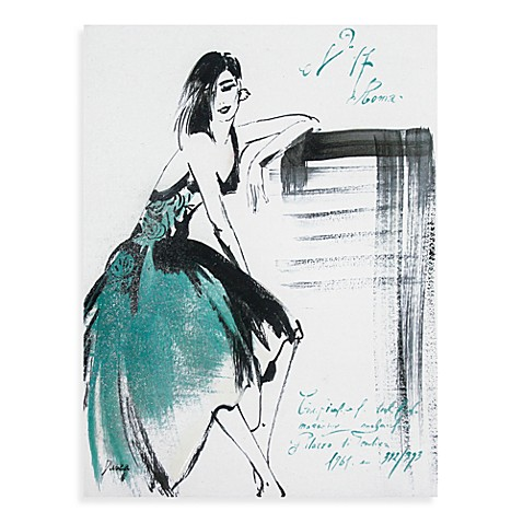 Watercolor Woman Canvas Blue Wall Art