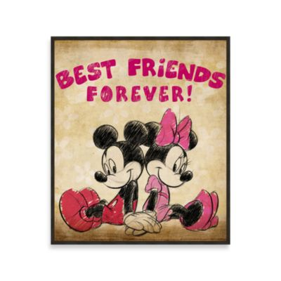 Best Friends Forever Vintage-Look 12-Inch x 14-Inch Mickey and Minnie Wall Art