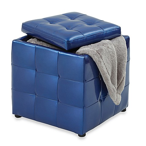 Metallic Storage Ottoman - Blue