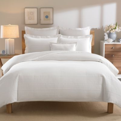 Real Simple® Linear Twin Duvet Cover in White