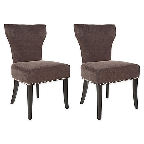 Safavieh Jappic Side Chair with Nailhead Trim in Brown (Set of 2)