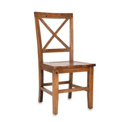 Safavieh Gavin Crossback Side Chair in Medium Oak Finish (Set of 2)