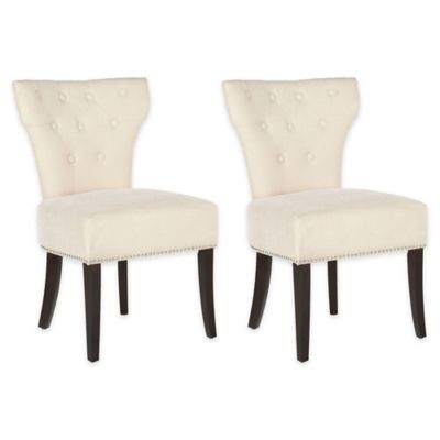 Safavieh Jappic Cream Side Chair with Buttons (Set of 2)