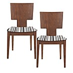 Safavieh Rick Side Chair in Striped Fabric/Brown (Set of 2)