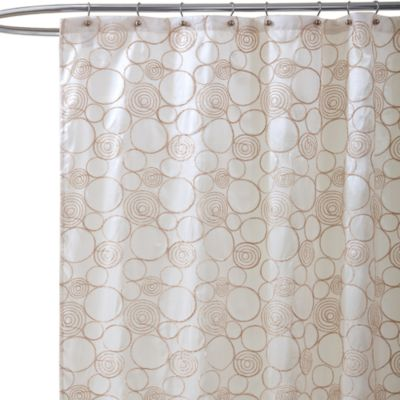 Circle Charm Beige Fabric Shower Curtain
