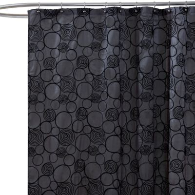 Circle Charm Grey Fabric Shower Curtain
