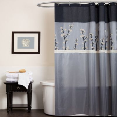Cocoa Flower Grey Fabric Shower Curtain