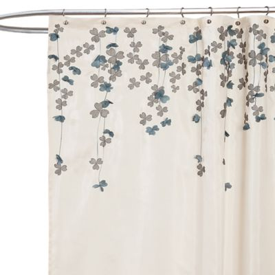 Flower Drop Fabric Shower Curtain