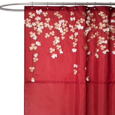 "Flower Drop 72"" x 72"" Fabric Shower Curtain"