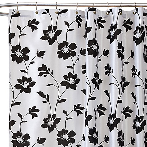Garden Blossom White/Black Fabric Shower Curtain
