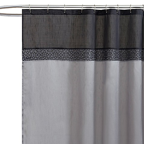 Geometric Black/Silver Fabric Shower Curtain