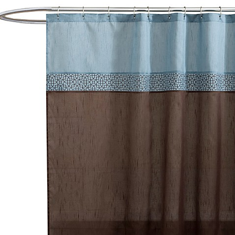 buy geometric blue brown fabric shower curtain from bed bath beyond. Black Bedroom Furniture Sets. Home Design Ideas