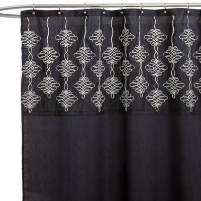 Isabella Black Fabric Shower Curtain