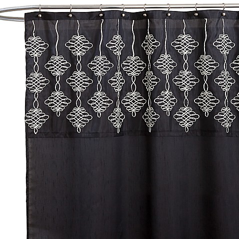 Isabella Black Fabric Shower Curtain