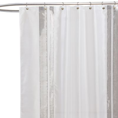 Jewel White Fabric Shower Curtain