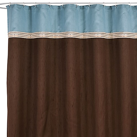 buy brown blue shower curtain from bed bath beyond. Black Bedroom Furniture Sets. Home Design Ideas