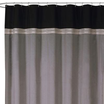 Terra Black and Silver Fabric Shower Curtain
