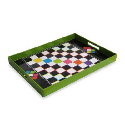 Green Checker Serving Tray