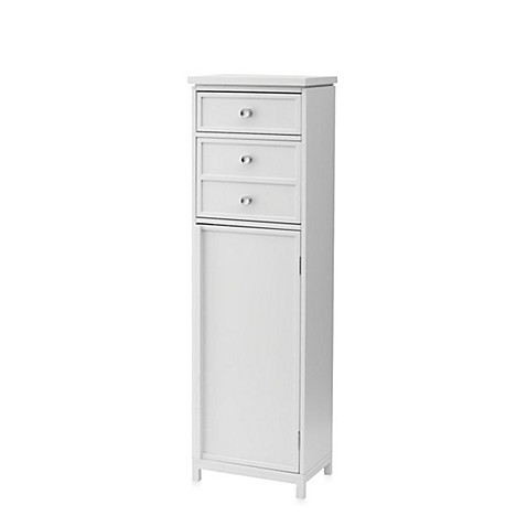 Real simple tall narrow cabinet with two drawers bed for Narrow bath cabinet