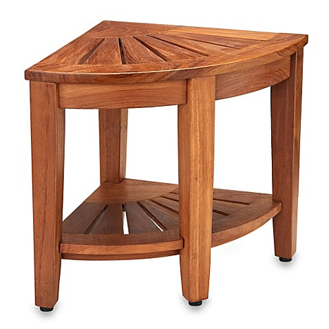 Buy Solid Teak Corner Vanity Stool From Bed Bath Amp Beyond