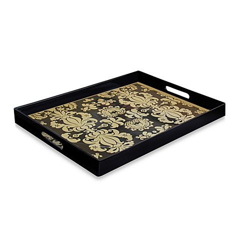 Buy notions fleur de lis rectangular rectangular serving tray in black gold from bed bath beyond - Fleur de lis serving tray ...