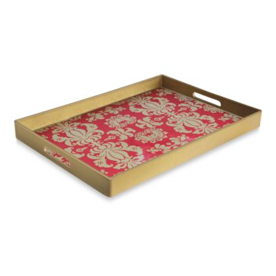 Notions Fleur De Lis Red & Gold Rectangular Serving Tray