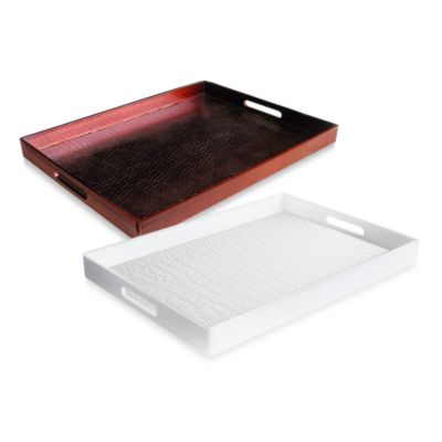 Alligator White 14-Inch x 19-Inch Rectangular Serving Tray - White