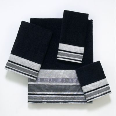 Avanti Geneva Fingertip Towel in Black/Silver