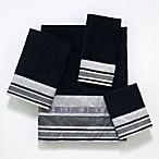 Avanti Geneva 11-Inch x 18-Inch Fingertip Towel in Black and Silver