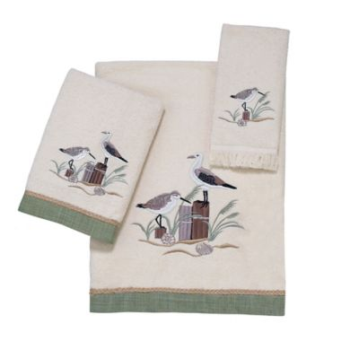 Avanti Sea Birds 12-Inch x 12-Inch Washcloth in Ivory