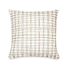 DKNY City Rhythm Plaid Square Throw Pillow in Linen