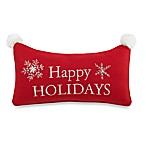 Holiday Pouf Red/White Oblong Toss Pillow