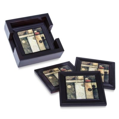 Abstract Coasters with Holder (Set of 4)